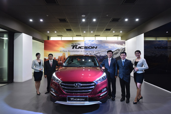 With the Newly Launched All-New Tucson are L to R- Mr Dennis Ho, Mr Park Sang-Min and Mr Lau Yit Mun